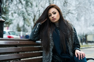 bench, frost, girl, nevus, view, hair