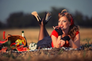 woman, beautiful, in the field, one, lies, basket, food, waiting