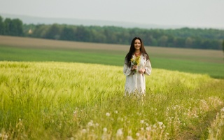 Ukrainka, posing, nature, summer, field, macro photo, beautiful