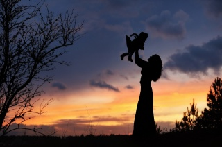 evening, dawn, field, silhouettes, mother, child, game, happiness
