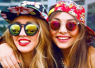 people, girls, glasses, photo, positive, mood