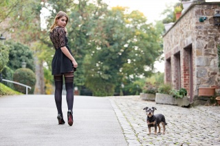 girl, dog, the city, street, legs, Guenter Stoehr