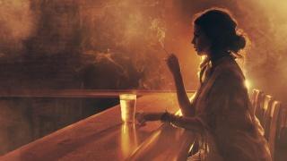girl, bar, glass, cigarette, Smoke, light