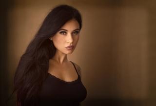 brown hair, tattoo, posing, the dark background
