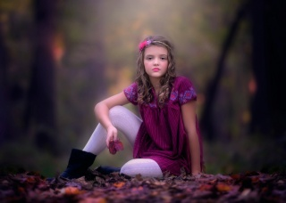 dívka, podzim, květina, šaty, listy, foto