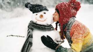 zima, sněhulák, holka, foto, pozitivní