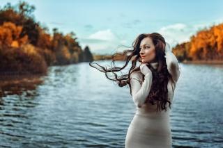шатенка, осень, природа, красиво, река