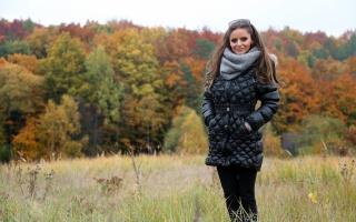 девушка, дана гарем, позирует, осень, природа, лес