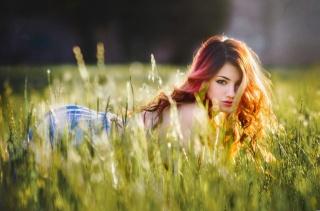 Delaiah Gonzalez, brown hair, red, sweetheart, beautiful, field, meadow, grass, view