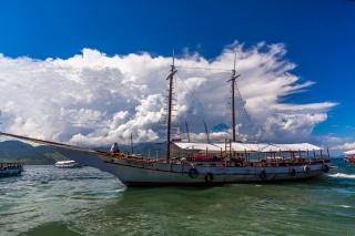 корабель, катер, човен, хмари, море, люди
