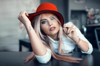 блонда, капелюшок, погляд, красива