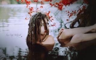 дівчина, погляд, вода, природа