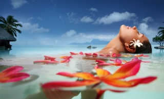 girl, face, water, sea, clouds, South, palm trees, resort, the rest, exotic, petals, flower, summer, bliss