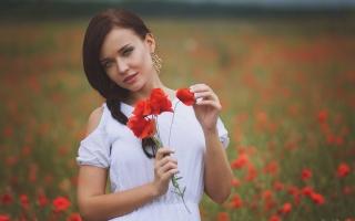 Angelina Petrova, Angelina Petrova, model, příroda, maki, krásná