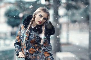blond, Pózování, pohled, makro fotografie, zima