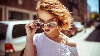 red, glasses, view, macro photo