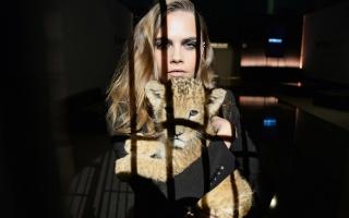 Cara Delevingne, lion, the dark background, creative
