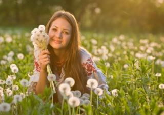 girl, posing, Ukrainka, summer, dandelions, photo, positive