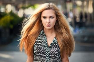 girl, blonde, model, portrait, view, hair, pendant