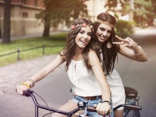 bike, two, brunette, smile, girls