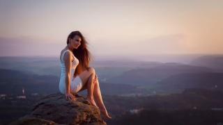 сукню, дівчина, довге волосся, висота