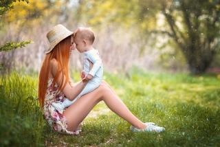 máma, dítě, chlapec, příroda, foto, pozitivní, náladu