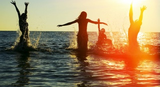 the ocean, water, people, fun, spray, drops, the sun, the company, sunset