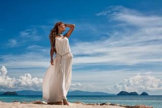 coast, resort, mountains, girl, posing, beautiful