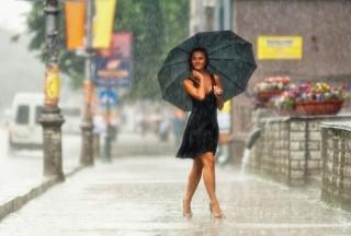 фото, город, дождь, зонт, девушка, позирует