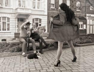 muži, holka, překvapení, pes, days like this, lavička