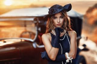 девушка, модель, фотограф, Alessandro Di Cicco, портрет, закат, бусы, шляпка, взгляд