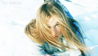 дівчина, вітер, сніг, зима