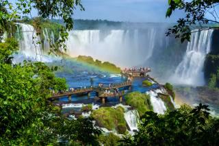 Аргентина, водоспад, міст, Iguazu, якщо, веселка, природа