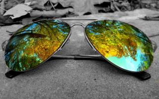 autumn, reflection, glasses