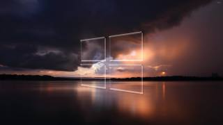 windows 10, transparent, Logo, over, the, stormy, sea