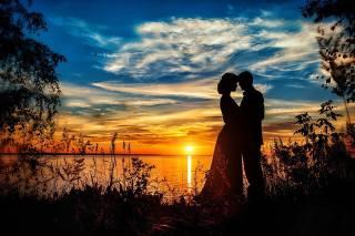 PÁR, západ slunce, krásně, Láska
