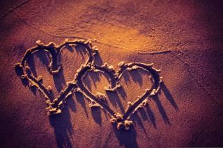 textura, srdce, písek