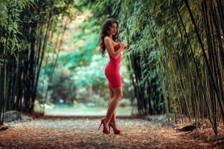 girl, brunette, model, view, dress