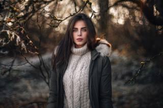 girl, model, photographer, Martin Kuhn, winter, portrait, bokeh, beautiful, hair, view
