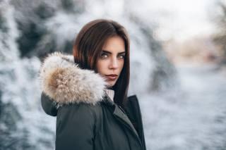 дівчина, портрет, фотограф, Martin Kuhn, зима, модель, красива, світло, боке, погляд