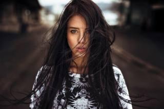 дівчина, брюнетка, фотограф, Martin Kuhn, портрет, боке, модель, красива, волосся, погляд