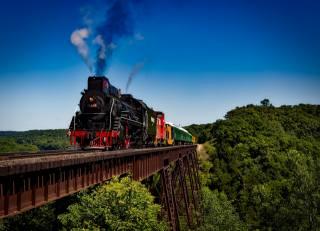 поезд, локомотив, путешествия, транспорт, железная дорога, дым, пейзаж, природа, мост, лес, деревья
