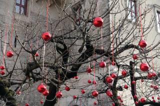 дерево, кульки, свято