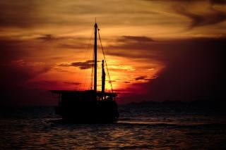 the sky, clouds, sunset, sea, ship