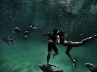 photo, Love, kiss, under water, beautiful, PAIR