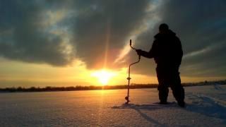 природа, рыбак, пруд, зима, снег