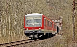 поезд, туннель, деревья, движение