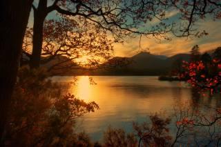 природа, краєвид, осінь, пагорби, озеро, дерева