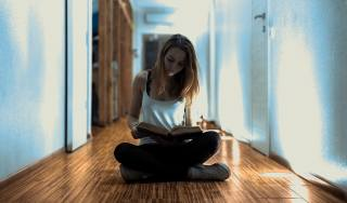 girl, book, the apartment