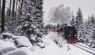zima, dfc, cesta, vlak, parní lokomotiva